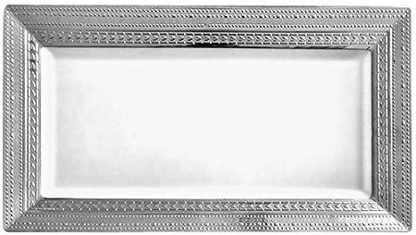 DECORLINE - blanco con plata - plástico Estable elegante vajilla desechable (Bandeja para servir l
