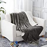 Jml Throw Blanket (50''x60'', Grey), Sherpa Throw Blanket for Couch, Plush Soft Warm, Reversible Plush Fleece Bed Couch Blanket