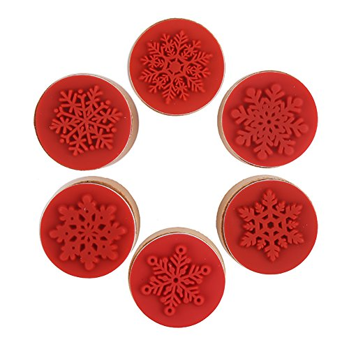 DECORA 6 Pieces Christmas Snowflake Wooden Rubber Stamp for Christmas Themed Decoration and Card Scrapbooking Design.