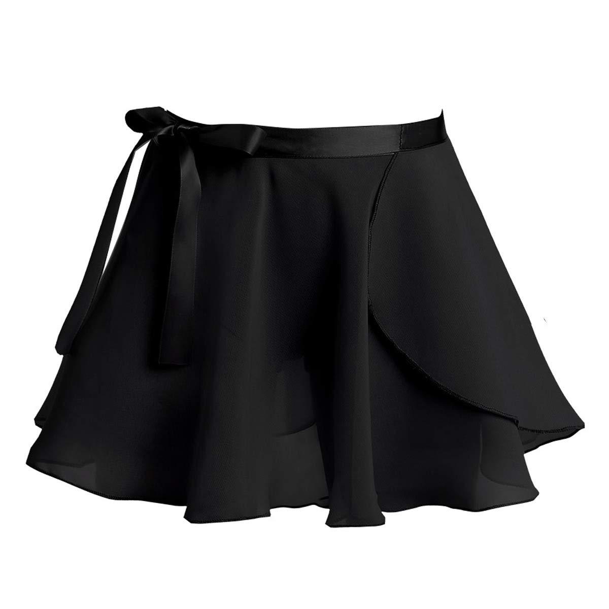 TiaoBug Girls' Ballet Wrap Skirt with Tie Waist Chiffon Basic Wrap Tutu Dancewear Costumes Black 5-6