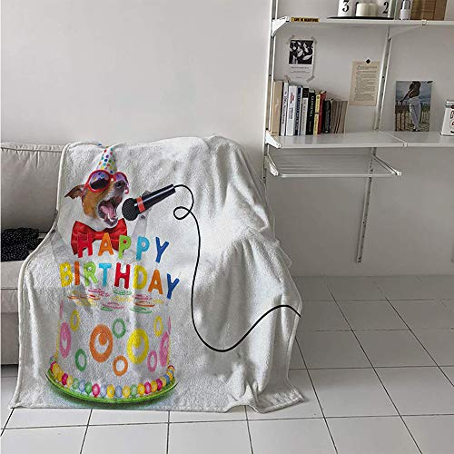 Custom Design Cozy Flannel Blanket, Birthday Musician Singer Dog with Glasses and Party Cake Cones Image Print, Oversized Travel Throw Cover Blanket 70x60 Inch Multicolor -