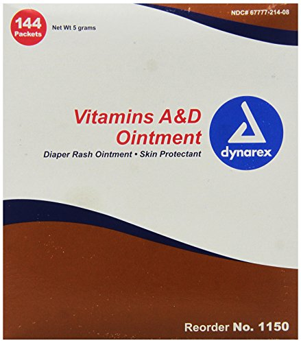 Dynarex Vitamin A&D Ointment, Foil Packs, 5-Gram, 144-Count (Pack of 6) Ointment Foil