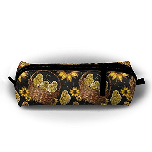 Embroidery Chickens Sunflowers Basket Pattern Pencil Bag Pencil Case Portable Stylish Pen Bag Multifunctional School Supplies For Watercolor Pens & Markers | Perfect Gift For Students & Artist