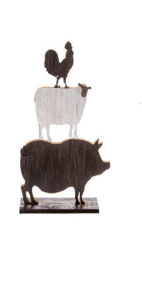 """Darice Table Wood Stacked Rooster/Sheep/Pig, 14"""" x 3.25"""" x 18.25"""""""