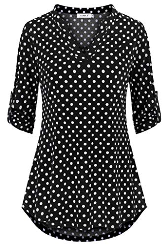 - Comila Women Tops 3/4 Sleeve, Classic Printed Notch Neck Roll Sleeve Winter Christmas Party Summer Holiday Casual Tunic Dress with Jeans Black White Polka Dot L US(12/14)