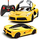 Gifts Online plastic Remote Controlled Rechargable Ferrari with Opening Doors (Yellow, 3689)