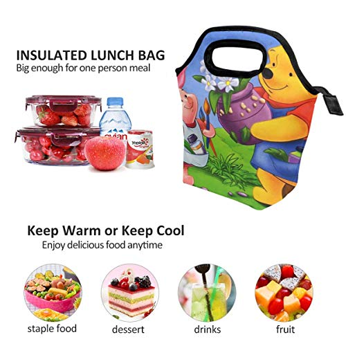 - Lunch Bag Winnie Pooh With Friends Insulated Lunch Tote Boxes Cooler Bag For Adults Men Women Kids Boys Nurses Teens