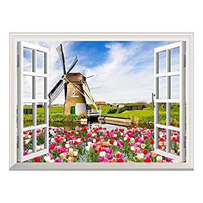 Wallpaper Large Wall Mural Series ( Windmill and Colorful Tulips) 36
