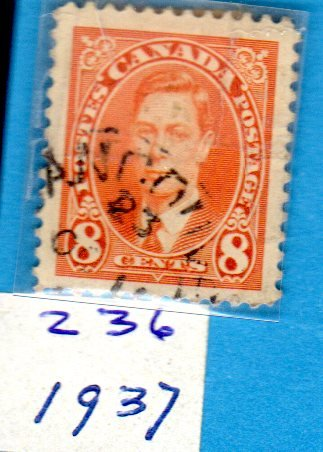 Postage Stamps Canada. One Single Used 8 Cents Orange George VI Stamp Dated 1937, Scott #236.