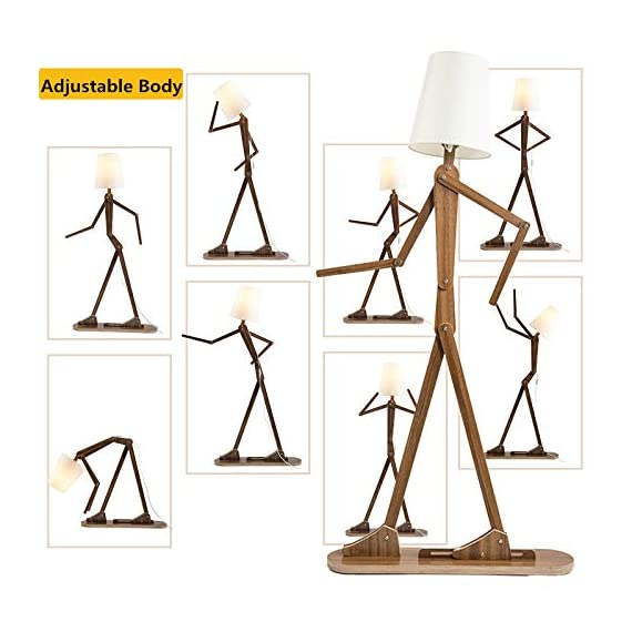 HROOME Modern Contemporary Decorative Wooden Floor Lamp Light with Fold White Fabric Shade Adjustable Height Standing Light for Living Room Bedroom Office 160cm Unique Design DIY Man Lamps (Walnut) - Trust material : The lamp body is made of plywood, firm and chemical-free. Material of the lampsade is fabric cloth, classical and elegant. Easy to use and store:The lamp is adjustable,you can adjust the angle and height as you like. With the special design, it can be stored in a small space. Features:AC 110-220V ,E26 screw socket easy to install,1.6m cord with button switch.Suitable for living room ,bedroom,office and so on . - living-room-decor, living-room, floor-lamps - 51fqUbaz2NL. SS570  -