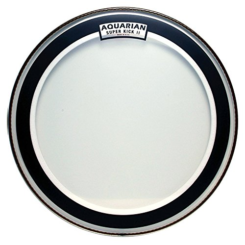 Aquarian Drumheads SKII20 Super-Kick II Double Ply 20-inch Bass Drum Head (2 Ply Clear Bass Drum)