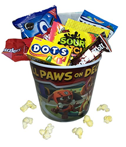 Mini Movie Card (Kids Mini Movie Night Gift Basket ~ Includes Popcorn, Cookies and Candy in a Character Bucket (Paw)