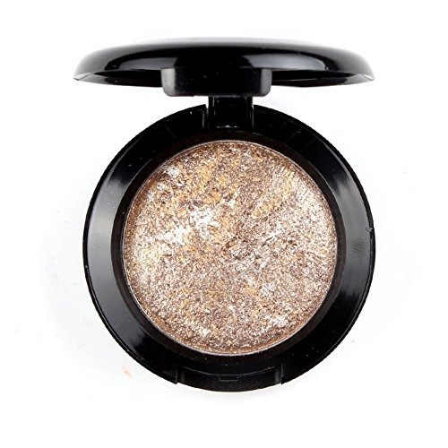 Eyeshadow,DAXUN Single Shade Baked Eye Shadow Powder Palettes Long Lasting Powder in Shimmer 12 Metallic Colors Optional (Brown)