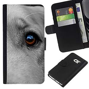 All Phone Most Case / Oferta Especial Cáscara Funda de cuero Monedero Cubierta de proteccion Caso / Wallet Case for Samsung Galaxy S6 EDGE // Great Dane Dog Eye Pet Cute Canine