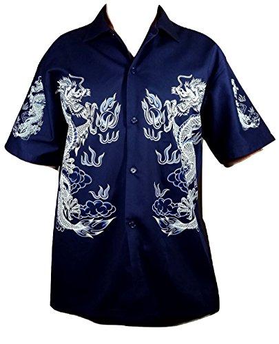 Summer Time Breeze Mens Cotton Short Sleeve Dragon Button Down Shirt (Large, Dark Navy Blue)