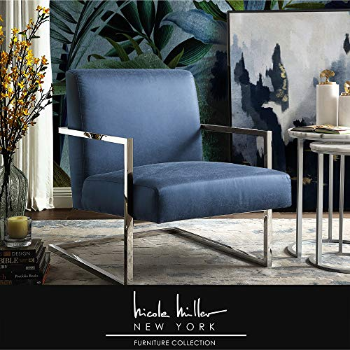 Nicole Miller Chester Accent Chair - Square Arm   Navy/Chrome PU Leather (Set Nicole Dining)