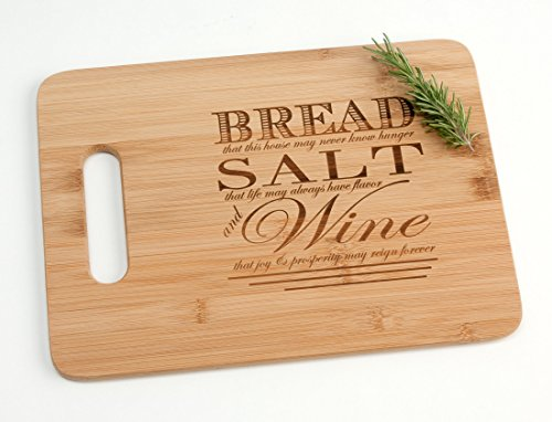 Engraved Wood Cutting Board Housewarming Gift, Bread Salt Wine Quote from It's a Wonderful -