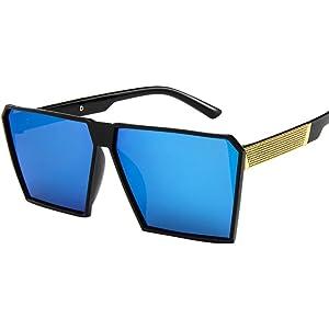 7c449548a7 Btruely Herren_Gafas de Sol para Mujer Hombres Vintage Square Marco de  Metal Espejo Gafas de Sol