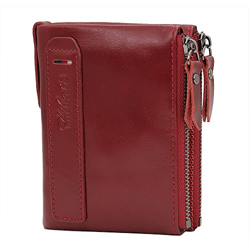 Credit RFID Card Blocking Men Holder Hibate Men's A Coin Wallet Purse red Wallets Leather Pocket wqR0xgt