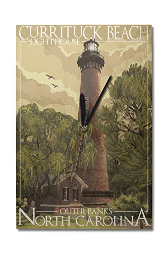 Lantern Press Outer Banks, North Carolina - Currituck Beach Lighthouse (10x15 Wood Wall Clock, Decor Ready to ()