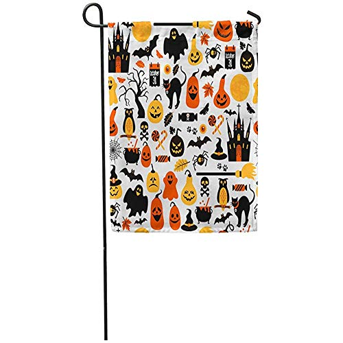 Staroind Garden Flag 12x18 Inches Print On Two Side Polyester Orange Costume of Halloween Fun Treat Trick Candy Hat Mouse Abstract Home Yard Farm Fade Resistant Outdoor House Decor -