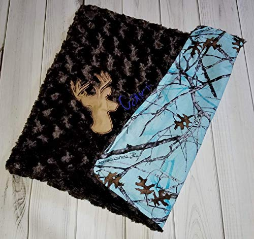 (Baby Boy Deer Buck Security Lovey True Timber Blue Camo camouflage cotton and Brown Swirl Silky Minky 16 x 20)