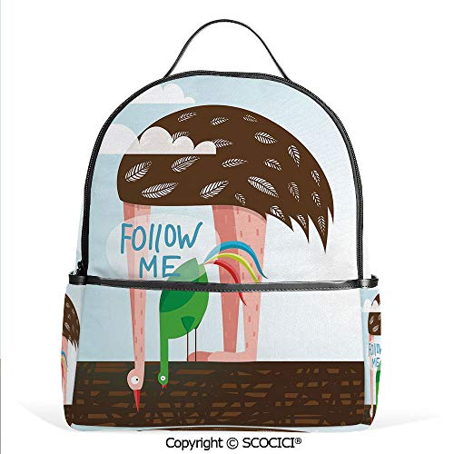 Lightweight Chic Bookbag Ostrich and Rooster Eating on Roof Birds with Long Necks and Follow Me Label Decorative,Multicolor,Satchel Travel Bag Daypack
