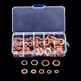 200pcs Copper Washer Assortment Flat Ring Seal Copper Washer Gasket Kit Set with Box M5-M14 For Hardware Accessories