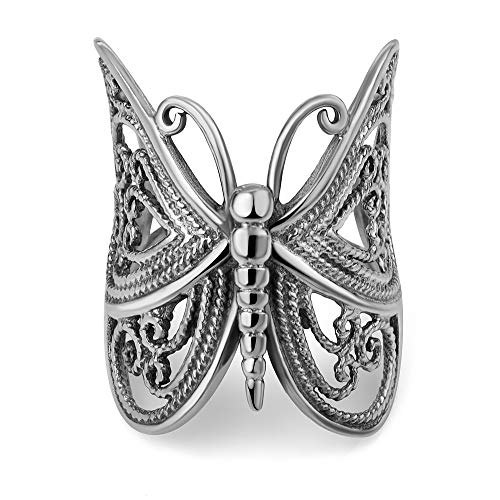 925 Sterling Silver Filigree Butterfly Rope Design Large Wrap Around Women Band Ring Size 8 ()