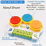 Minitudou 2 Hand Drum Keyboard Baby Toys 2 In 1 Early Educational Paino Musical Learning and Development Gift