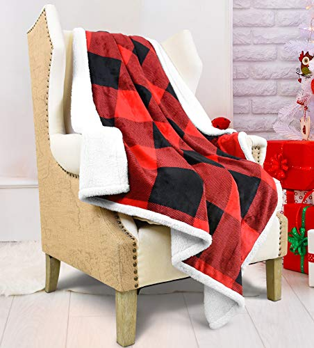 Sherpa Throw Blanket Super Soft Flannel Fleece Couch Blanket Plaid Design Reversible Bed Blanket for All Season, 50 x 60 Plaid Red