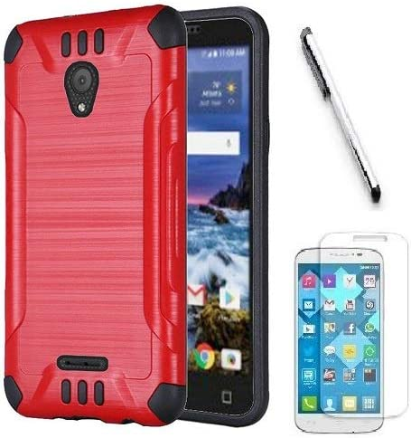 Tracfone Compatible Smartphones >> Compatible For Alcatel Insight Tracfone Alcatel Tcl A1 A501dl Prepaid Smartphone Metallic Brushed Hybrid Cover Case Red