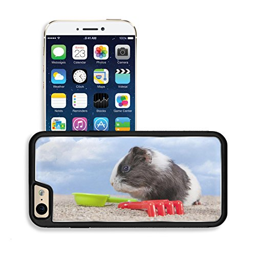 Luxlady Premium Apple iPhone 6 iPhone 6S Aluminium Snap Case guinea pig playing in the sand with a rake and shovel of colors the sky IMAGE 20271053