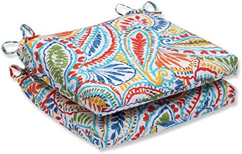 Pillow Perfect Outdoor Ummi Squared Corners Seat Cushion, Multicolored, Set of 2