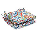 Pillow Perfect Outdoor Ummi Squared Corners Seat Cushion, Multicolored, Set of 2 For Sale