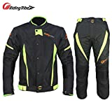 Riding Tribe Motorcycle Jacket Pants Biker Race Suits with Waterproof Liner, M