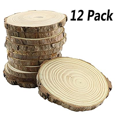 Bignc 12Pcs 4-5-Inch Unfinished Natural Thick Wood Slices Circles with Tree Bark Log Discs for DIY Craft Christmas Rustic Wedding Ornaments