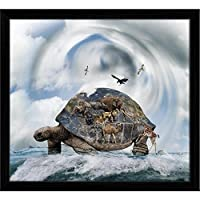 ArtzFolio World Turtle Concept Carrying Animals Tabletop Painting Black Frame 6.5 X 6Inch