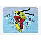 Ambesonne Youth Bath Mat by, Teenager Playing Skateboard on Street with Abstract City Background Circles Buildings, Plush Bathroom Decor Mat with Non Slip Backing, 29.5 W X 17.5 W Inches, Multicolor