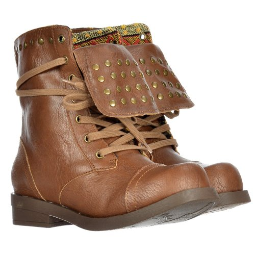 Femmes Noir Dog Porter Mesdames Brutus Tan Brown Clouté Rocket Bottines vgCwxqR