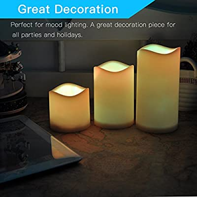 Novelty Place Flameless Candles with Remote, [Real Flickering & Real Ivory Color] Battery Powered LED Pillars Candle with Remote Control and Timer Function - 12 Preset Multi Colors