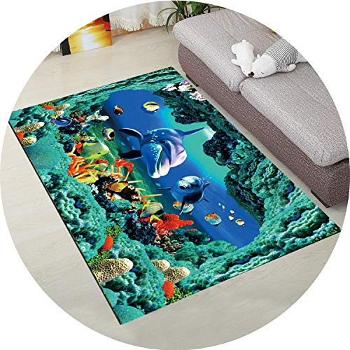 - 3D Carpet for Living Room Coffee Table Floor Rugs Non-Slip Child Carpet Bedroom Mats Bedside Rugs Soft Baby Crawling Mats,Fish 04,50x80cm