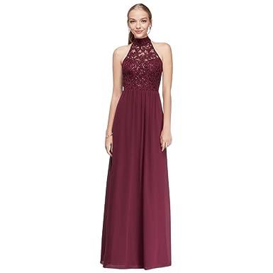 3a3b3fe8ebc0c David s Bridal Chiffon High-Neck Prom Dress with Ladder Back Detail Style  X35241DH232