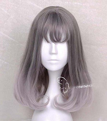 [Jooyi Fashion Lolita Grey Ombre Long Bob Straight Wigs Cosplay /Party Costume Wig for Women Natural As Real Hair+A Free Wig] (Lavender Marie Antoinette Wig)