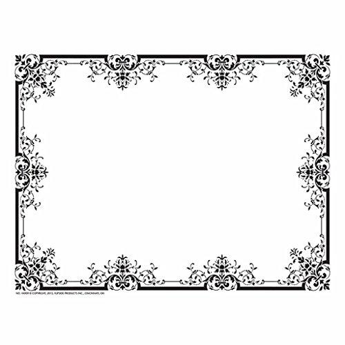 Fleur de Lis Black Border Paper - Matte Paper - Quantity 250