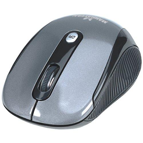 Silver Optical Rf Mouse Wireless (Manhattan 177795 PERFORMANCE WL 4BTN USB BLACK/SILVER OPTICAL MOUSE WIN/MAC)