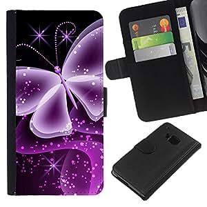 HTC One M7 , la tarjeta de Crédito Slots PU Funda de cuero Monedero caso cubierta de piel ( Neon Butterfly Computer Graphics Art)