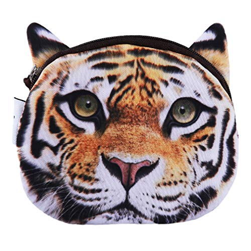 Dolland Zipper Coin Purse and Card Holder - Flat Cloth Cute Big Cat Change Holder, Zip Pouch, for Girls, Boys,Tiger from Dolland
