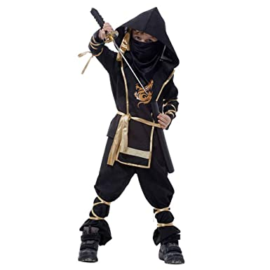 Spring Fever Child Kids Stealth Ninja Assassin Costume Toys Halloween Cosplay Dress-Up Set Black M for Height(43.3