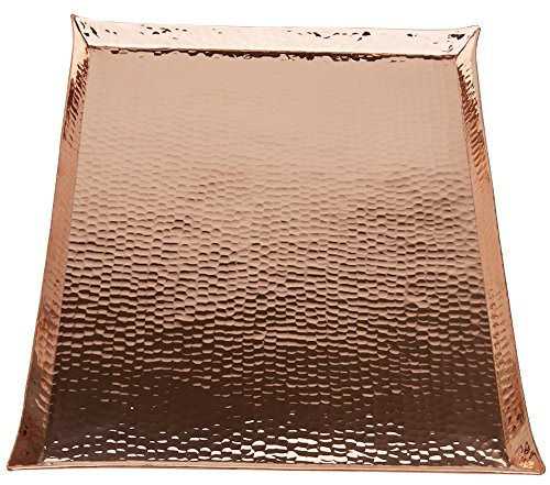 (Copperbull HEAVIEST THICKEST Hammered Copper Premium Tray,17